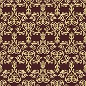 Brown and Gold Damask Seamless Vector Pattern. Orient Background