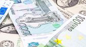 Close-up Shots In Macro Lens Money Euro, Dollar, Ruble  Banknotes