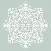 White Floral Vector Pattern. Orient Abstract Background