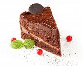 Yummy chocolate cake isolated on white