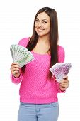 Casual woman with us dollars abd euro cash