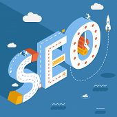 Isometric SEO, success internet searching optimization process illustration