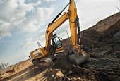 Excavator Loader In Construction Sandpit Area