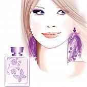 Young pretty woman advertising for perfume -  illustration