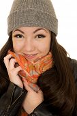 Brunette Teen Model Snuggling Her Hat And Beanie