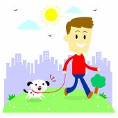 pic of take responsibility  - A man taking his puppy for a walk at park  - JPG