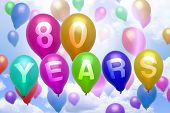 80 Years Happy Birthday Balloon Colorful Balloons