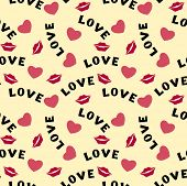 Seamless pattern with hearts lips  and inscription love on yellow