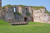 Bauska Castle Ruins And Ancient Cannons