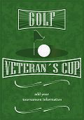Veterans cup golf poster with golf ball and flag