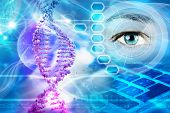 picture of genetic engineering  - DNA helix and human eye in abstract blue background - JPG