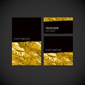 set of vector visual corporate identity with golden wrinkled foi