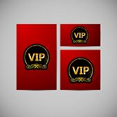 vector set of VIP cards with golden foil ornate emblem, striped