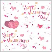 Valentine's Day. Arrows heart and lettering. background illustration