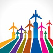 Abstract colorful background with airplane stock vector
