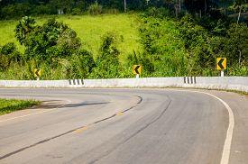 foto of twisty  - Twisty mountain road in nature  - JPG