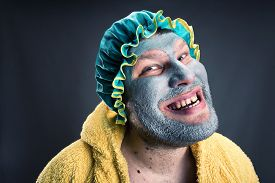 pic of madman  - Strange man with face pack - JPG