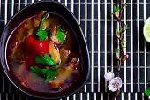 stock photo of thai cuisine  - soup Tom yam kung  - JPG