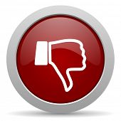 image of dislike  - dislike red glossy web icon  - JPG