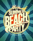 image of summer beach  - Summer beach party grunge poster - JPG