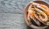 stock photo of crustaceans  - Fried Shrimps On The Plate Close Up - JPG