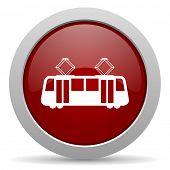 pic of tram  - tram red glossy web icon  - JPG