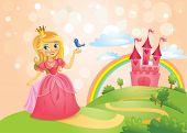 stock photo of castle  - FairyTale landscape - JPG