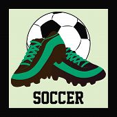 picture of shoes colorful  - Colored background with a soccer ball soccer shoes and text - JPG