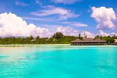 pic of deserted island  - Perfect white beach with turquoise water at ideal island - JPG
