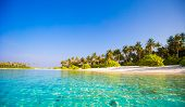 stock photo of deserted island  - Perfect beach with turquoise water at ideal island - JPG