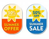 stock photo of elliptical  - summer offer and sale 50 percent off discount text banners two elliptic flat design labels with sun signs business seasonal shopping concept - JPG