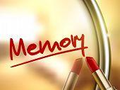 foto of memory stick  - memory word written by red lipstick on glossy mirror - JPG