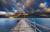 pic of pier a lake  - Wooden pier - JPG