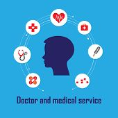 picture of diagnostic medical tool  - The medical tools show as Doctor And Medical Service concept - JPG
