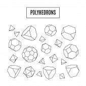 stock photo of octahedron  - Set of 3d polyhedrons modern hipster line art icons crystal geometrical concept vector illustration - JPG