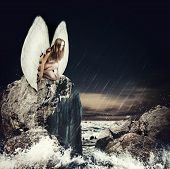picture of fallen  - Sad woman fallen angel with white wings sitting on a rock in the sea - JPG