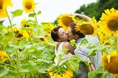 foto of sunflower  - happy couple in love having fun in field full of sunflowers - JPG
