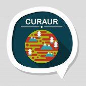 stock photo of earth mars jupiter saturn uranus  - Space Planet Flat Icon With Long Shadow - JPG