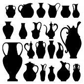 image of crockery  - Vector silhouettes of vases - JPG
