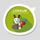 picture of cony  - Rabbit With Carrot Flat Icon With Long Shadow - JPG