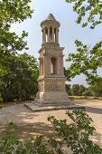 foto of mausoleum  - Famous Mausoleum of the Julii is located across the Via Domitia near The Triumphal Arch of Glanum  - JPG
