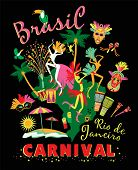 stock photo of brasilia  - Vector illustration of Brazilian Carnival - JPG
