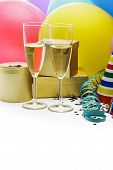 picture of flute  - Champagne flutes and balloons isolated on a white background - JPG