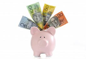 picture of time-saving  - Australian Money with Piggy Bank for saving spending or end of financial year sale - JPG
