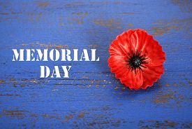 stock photo of memorial  - USA Memorial Day concept of red remembrance poppy on dark blue vintage distressed wood table with title text - JPG