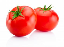 stock photo of sweet food  - Two red tomatoes isolated on white background - JPG