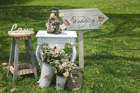 image of stool  - Wood hand made welcome wedding decoration and signs - JPG