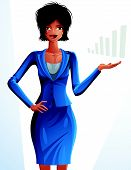 Постер, плакат: Beautiful mulatto businesswoman full length portrait Colorful drawing of cute slender girl
