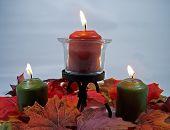 Autumn Colored Lit Candles