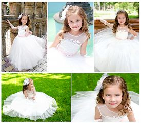 image of little girls photo-models  - Collection of photos adorable smiling little girl in princess dress outdoor - JPG
